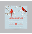 Christmas Invitation Card - Winter Birds vector image
