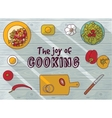 Cooking objects top view flat wood background vector image