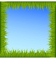 Green grass frame on blue sky background vector image