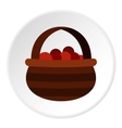Basket of berries icon flat style vector image
