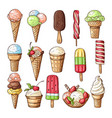 colored of ice creams with chocolate vector image