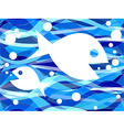 FIsh in seamless wavy pattern vector image