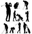 golfers silhouettes vector image