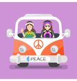 two happy hippie man and woman vector image