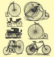 vintage bicycle drawings vector image
