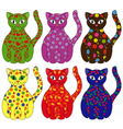 Set of six stylized cats vector image
