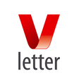 logo red ribbon in the shape of the letter V vector image