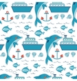 Colorful seamless sea pattern with dolphins vector image