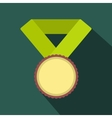 Medal with yellow ribbon flat icon vector image