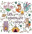 Let the adventure begin Hand drawn camping vector image