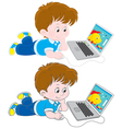 Boy with a laptop vector image