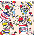 Floral seamless pattern with flowers vase cup for vector image