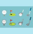 golf icon set flat line color icon design vector image
