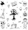 Halloween dry tree doodle vector image