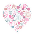 heart shape floral pink vector image