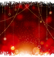 Christmas glowing red background with hanging vector image vector image