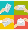 Hand Holding Envelope Flat style set vector image vector image