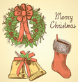 Sketch Christmas set in vintage style vector image