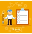 Businessman Cartoon Character with Checklist vector image