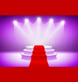 3d Purple Illuminated stage podium with red carpet vector image