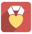 Heart Award Flat Rounded Square Icon with Long vector image