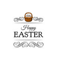 basket full of easter eggs decoration element vector image