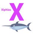 funny alphabet with cartoon animal purple letter x vector image