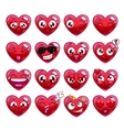 Funny cartoon heart character emotions set vector image
