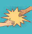 handshake african and caucasian vector image
