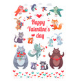 happy valentine s day greeting card with animals vector image