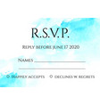 rsvp 5x7 inches card template with hand painted vector image