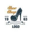 shoe shop premium quality design logo estd 1963 vector image