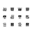 video advertisement objects glyph icons set vector image