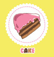 piece of chocolate cake with pink icing cake icon vector image