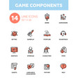 Game components - modern single line icons vector image