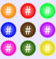 hash tag icon A set of nine different colored vector image
