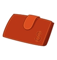red leather wallet with dollar sign vector image