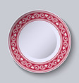 plate with red ornamental border design template vector image