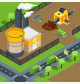 Recycling Plant Isometric Poster vector image
