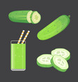 set fresh cucumber sliced and isolated vector image