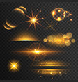set of golden glitters lights and sparkles with vector image