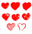 set of grunge hearts set of grunge hearts vector image