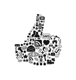thumbs up with web icons vector image vector image