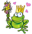Prince frog with bouquet vector image