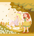 little girls playing vector image