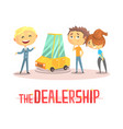 happy couple with car dealer in auto show or salon vector image