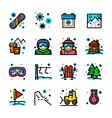 snowboarding icons set vector image