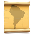 Paper Scroll with South America vector image