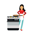 beautiful young brunette woman housewife cooking vector image