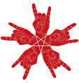Five rock hands abstract symbol with five point vector image